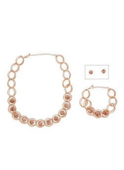 Large Rhinestone Necklace and Bracelet Set with Stud Earrings - 3138035152371