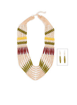 Beaded Bib Necklace with Matching Drop Earrings - 3138035153056