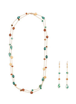 Multi Beaded Necklace with Matching Drop Earrings - 3138035153389