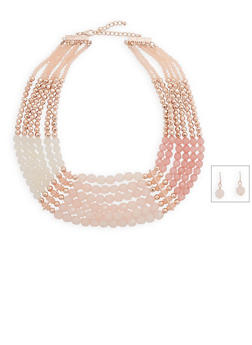 Multi Row Beaded Necklace and Earring Set - 3138035153887