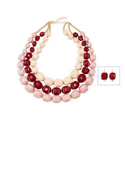 3 Tone Chunky Bib Necklace with Matching Earrings - 3138035154451