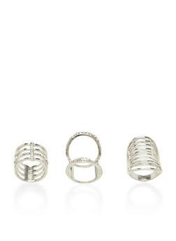 Plus Size Set of 3 Long Geo Rings with Rhinestones - 3138035154691