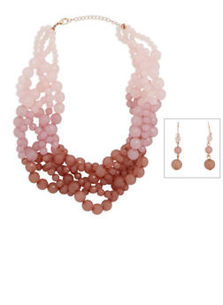 Braided Beaded Necklace and Earrings - 3138035154769