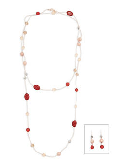 Long Beaded Necklace with Matching Earrings - 3138035154853