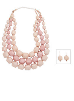 Large Square Beaded Necklace and Earrings - 3138035155117