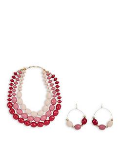 Large Beaded Triple Row Necklace with Hoop Earrings - 3138035155236