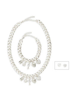 Curb Chain Charm Necklace and Bracelet with Stud Earrings - 3138035155487