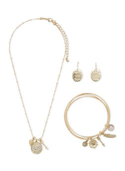 Matching Necklace Earrings and Bracelets with Hope Motif - 3138035155809