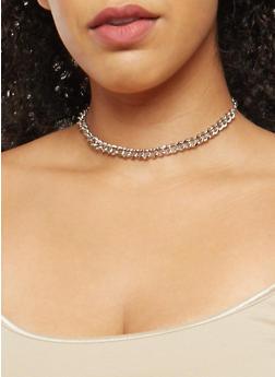 Metallic Glitter Chain Trio with Stud Earrings - 3138035155958