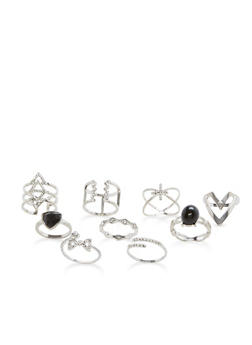 Set of 9 Jeweled Rings - 3138035155960