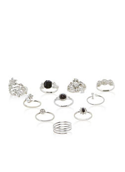 Set of 9 Jewel Encrusted Rings - 3138035155963