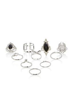 Set of 9 Rhinestone Encrusted Rings - 3138035155966