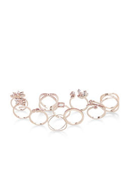 Set of 9 Jeweled Rings - 3138035155967