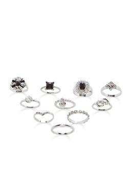 Set of 9 Jewel and Rhinestone Rings - 3138035155970
