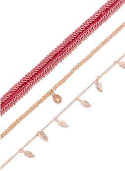 Set of 3 Woven and Metallic Chokers - 3138035157169