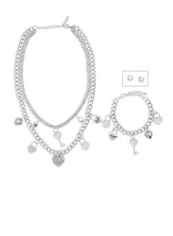 Rhinestone Charm Necklace and Bracelet with Stud Earrings - 3138035157222