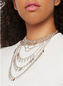 Metallic Layered Choker Necklace - 3138035157290