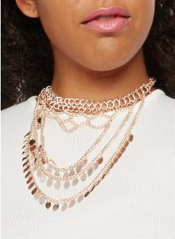 Metallic Layered Choker Necklace - 3138035157290