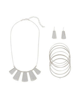Necklace with 8 Bangles and Earrings Set - 3138035157490