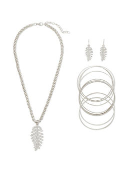 Rhinestone Leaf Necklace and Earrings with Bangles Set - 3138035158345