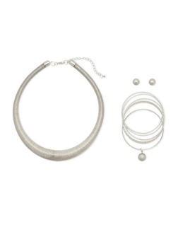 Coil Necklace with Bracelets and Stud Earrings Set - 3138035158683