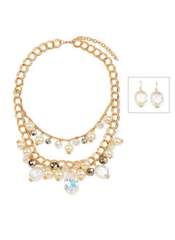 Gemstone Drop Earrings and Tiered Necklace Set - 3138035159185