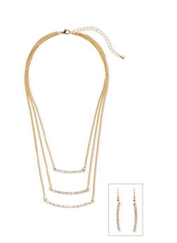Tiered Crystal Necklace and Earrings Set - 3138044094986