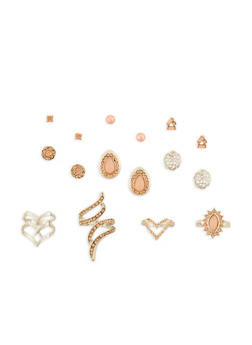 Rhinestone Rings and Stud Earrings Set - 3138057690519