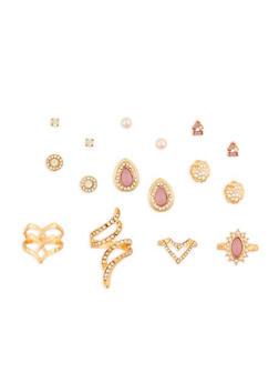 Rhinestone Rings and Stud Earrings Set - 3138057690519