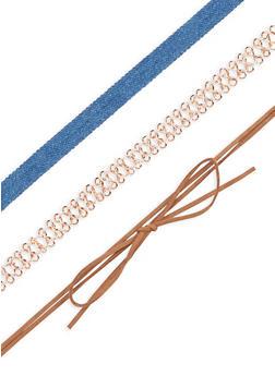 Denim Metallic Bow Choker Set - 3138057690678