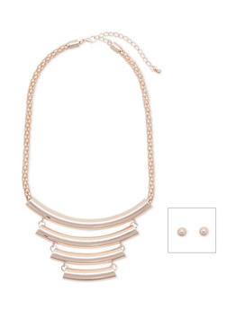 Mesh Chain Crescent Necklace with Stud Earrings - 3138057691397