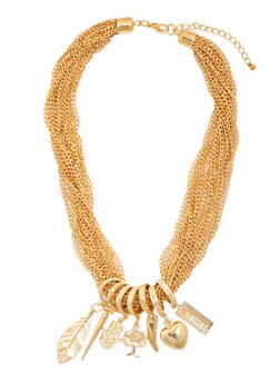 Multi Chain Necklace with Assorted Charms - 3138057694740