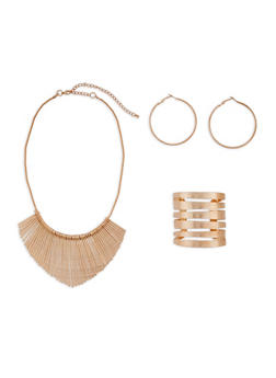 Textured Stick Bib Necklace with Cuff Bracelet and Hoop Earrings - 3138057694840