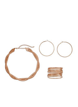 Braided Mesh Necklace with Bangles and Hoop Earrings - 3138057694841