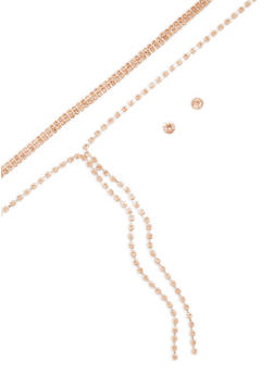 Rhinestone Chokers with Stud Earrings - 3138057695745