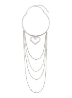 Tiered Collar Necklace with Heart Charm - 3138057695816