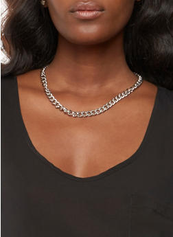 Metallic Chain Necklaces and Stud Earrings Set - 3138057696241
