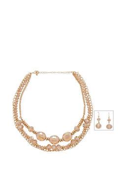 Triple Row Gem Chain Necklace - 3138057697454