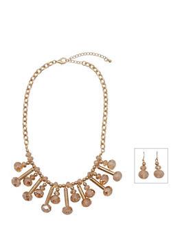 Gem Bib Necklace and Matching Drop Earrings Set - 3138057697474