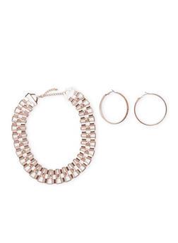 Metallic Rhinestone Necklace with Cuff Bracelet and Hoop Earrings - 3138057698032