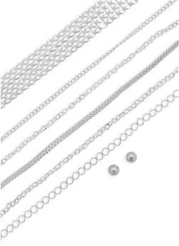 Metallic Layered Choker Necklace and Stud Earrings Set - 3138057698082