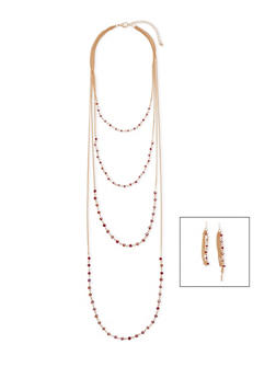Dainty Layered Gemstone Necklace with Earrings - 3138057698199