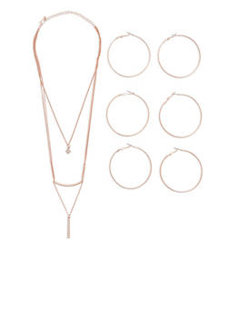 Layered Necklace with Hoop Earrings Set - 3138057698733
