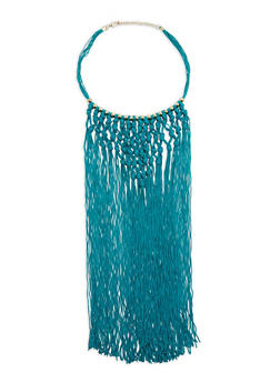 Knotted Long Fringe Beaded Necklace - 3138058561968