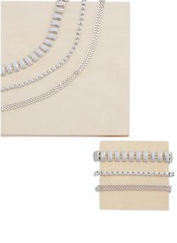 Glitter And Studded Necklace and Bracelet Set - 3138059633345