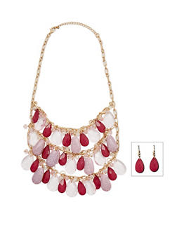 Triple Layer Glass Beaded Necklace with Matching Earrings - 3138059634194