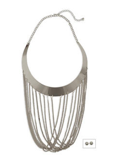 Metallic Collar Necklace with Stud Earrings - 3138059634880