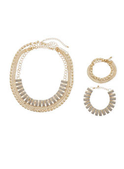 Layered Chain Glitter Bracelets with Necklace Set - 3138059635433