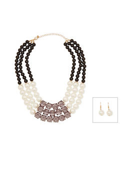 Beaded Necklace and Drop Earrings Set - 3138059636765