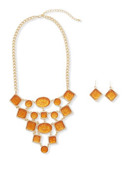 Crystal Bib Necklace and Earrings Set - 3138059637411